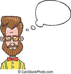 Cartoon hipster bust