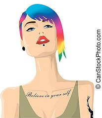 Cartoon hipster girl portrait with colorful hair