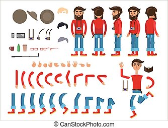 Cartoon Hipster Man Character Vector Constructor - Hipster...