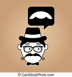 cartoon hipster mustache icon graphic