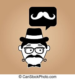 cartoon hipster mustache retro background