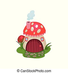Cartoon hobbit house in form of mushroom with red spotted...
