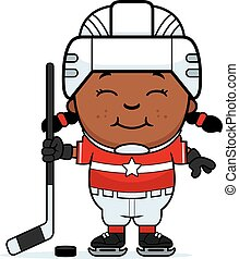 A cartoon illustration of a child hockey player smiling.