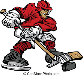 Cartoon Hockey Player Skating Vecto - Cartoon Vector of a...