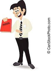 cartoon holding manual book