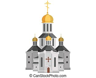 Cartoon holy church of christian religion with cross on top