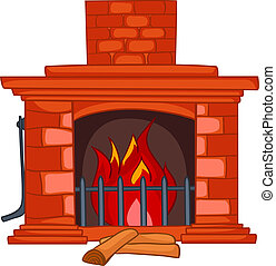 Cartoon Home Fireplace Isolated on White Background. Vector.