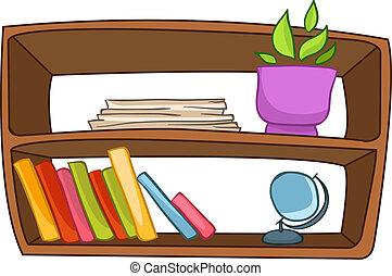 Cartoon Home Furniture Book Shelf Isolated on White ...
