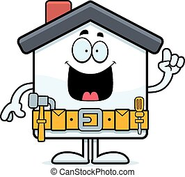 A cartoon illustration of a home improvement house with an idea.
