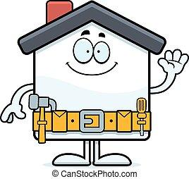 Cartoon Home Improvement Waving - A cartoon illustration of ...