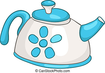 Cartoon Home Kitchen Kettle Isolated on White Background....