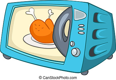 Cartoon Home Kitchen Microwave Isolated on White Background. Vector.