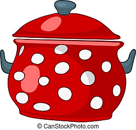 Cartoon Home Kitchen Pot Isolated on White Background....