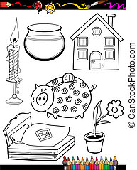 cartoon home objects coloring page - Coloring Book or Page...