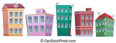 Cartoon home real estate set