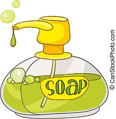 Cartoon Home Washroom Soap Isolated on White Background....