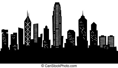Cartoon skyline silhouette of the city of Hong Kong, China.