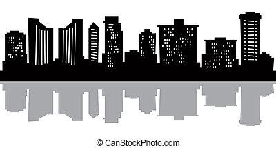 Cartoon skyline silhouette of the city of Honolulu, Hawaii.