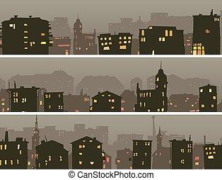 Cartoon horizontal banner of big night city.