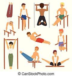 Cartoon horizontal chin-up street workout strong athlete vector man gym doing bar exercise street hard work tricks muscular fitness sportman character illustration