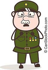 Cartoon Horrify Sergeant Face Vector Illustration