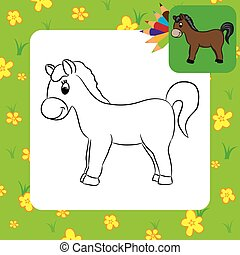 Cartoon horse. Coloring page