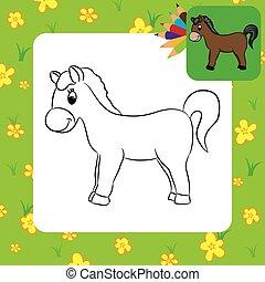 Cartoon horse. Coloring page