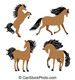 Cartoon horse in different poses vector isolated on white background