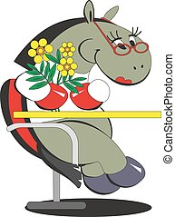 Cartoon horse is sitting on a chair with flowers 013