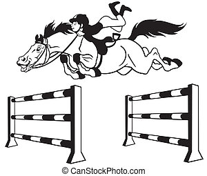 kid with horse jumping a hurdle, equestrian sport, black and white cartoon image