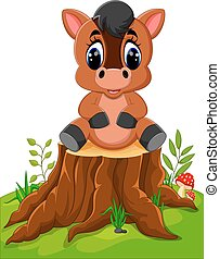 Cartoon horse posing - Cartoon horse sitting on tree stump