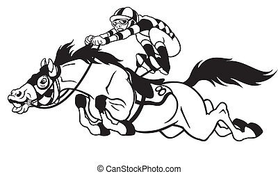 cartoon horse race - derby, equestrian sport, racing horse ...