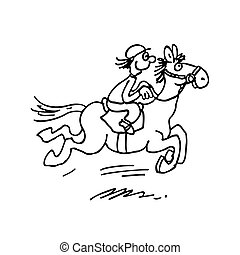 cartoon horse ride. outlined cartoon handrawn sketch illustration vector.