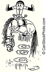 cartoon horse throws off a rider BW