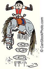 cartoon horse throws off a rider