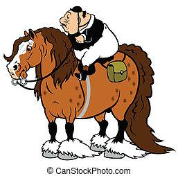 cartoon horse tourism - rider riding heavy horse, cartoon ...