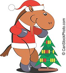 Cartoon horse with a Christmas tree 010