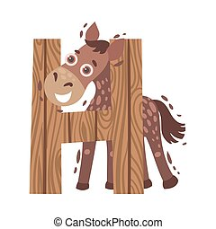 Cartoon horse with the letter H. Vector illustration on a white background.
