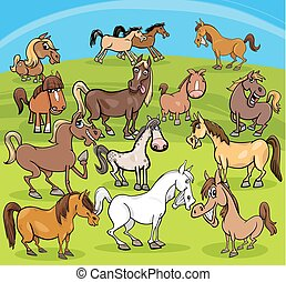 cartoon horses farm animals group