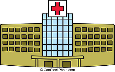 A cartoon depiction of a generic hospital building.