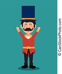 cartoon host man circus festival vector illustration eps 10