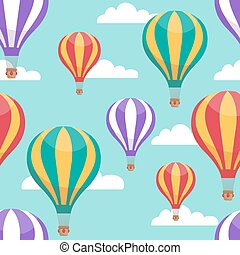 Cartoon hot air balloons in blue sky vector seamless pattern for air travel concept