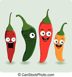 Cartoon hot chili peppers. Vector illustration