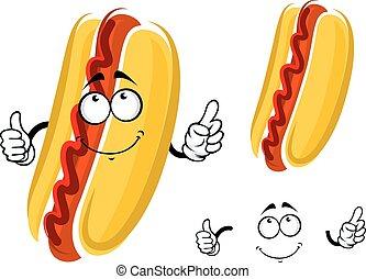 Cartoon hot dog character with ketchup