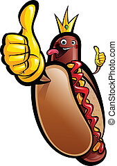 Cartoon hot dog king making a thumbs up gesture wearing a...