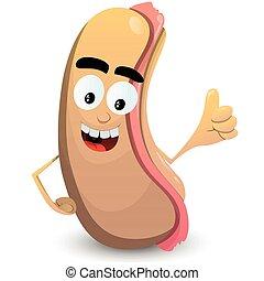 Cartoon Hot Dog showing Thumbs Up