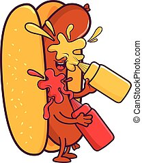 Cartoon hot dog splashing itself with mustard and ketchup