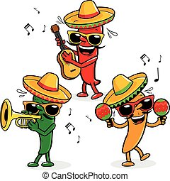 Cartoon hot mariachi peppers playing music. Vector Illustration