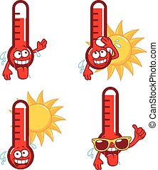 Cartoon hot thermometers - Cartoon funny thermometers...