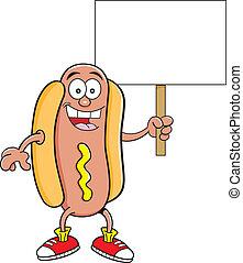 Cartoon hotdog holding a sign